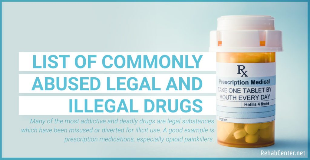 RehabCenter.net List Of Commonly Abused Legal And Illegal Drugs Featured Image